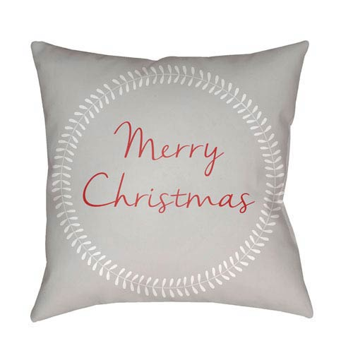 Gray Merry Christmas II 20-Inch Throw Pillow with Poly Fill