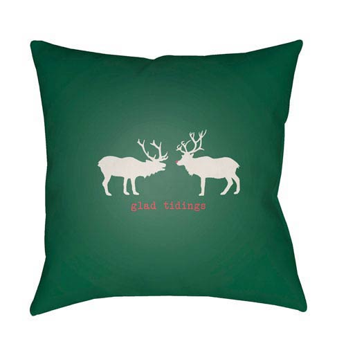 Green Reindeer 20-Inch Throw Pillow with Poly Fill