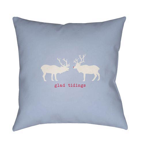 Blue Reindeer 20-Inch Throw Pillow with Poly Fill