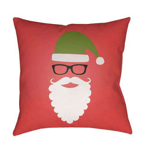 Red Santa 18-Inch Throw Pillow with Poly Fill