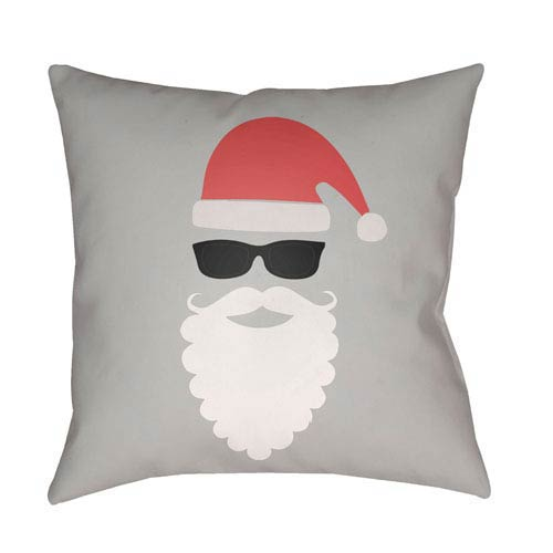 Gray Santa 18-Inch Throw Pillow with Poly Fill