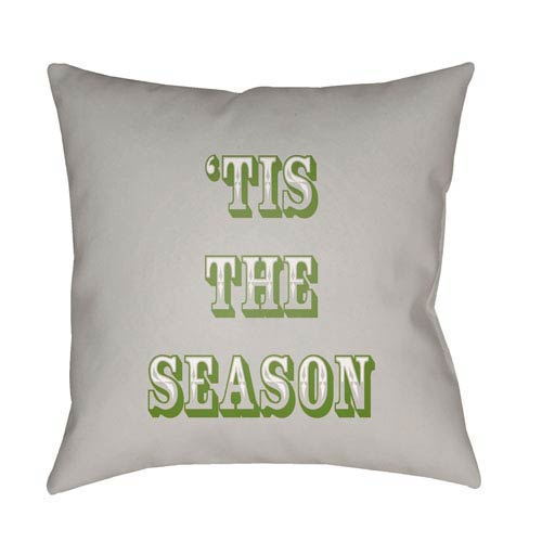 Gray Tis The Season II 20-Inch Throw Pillow with Poly Fill