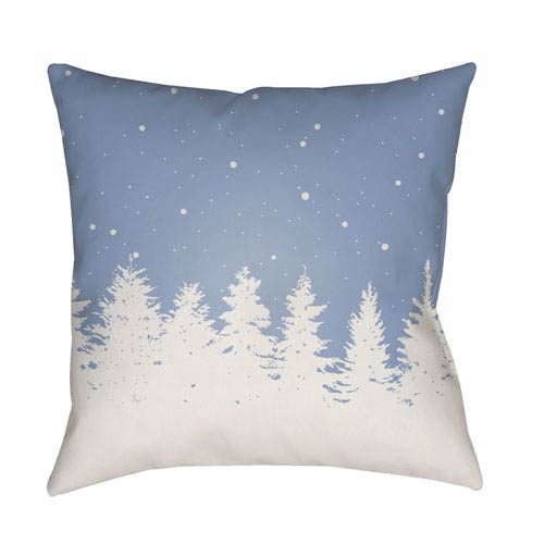 Blue Trees 20-Inch Throw Pillow with Poly Fill