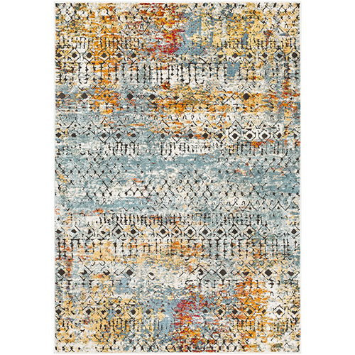 Herati Aqua, Orange and Butter Rectangular: 9 Ft. x 13 Ft. 1 In. Rug