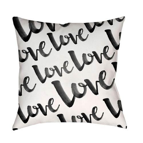 Surya Love Black and White 20 x 20-Inch Throw Pillow