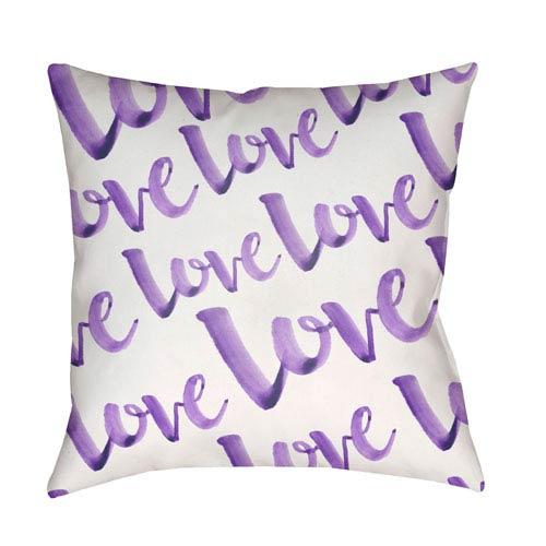 Surya Love Purple and White 20 x 20-Inch Throw Pillow