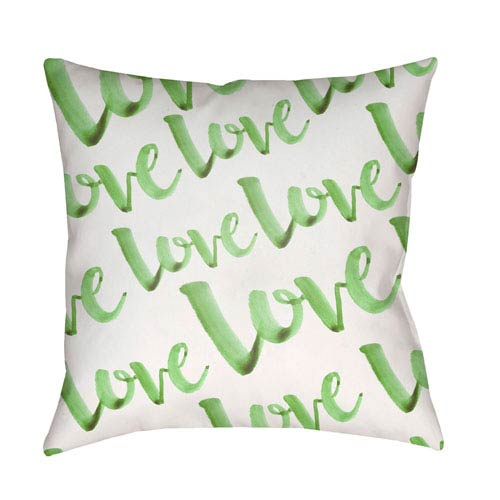 Surya Love Green and White 18 x 18-Inch Throw Pillow