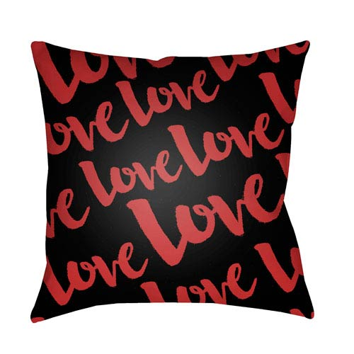 Surya Love Red and Black 18 x 18-Inch Throw Pillow