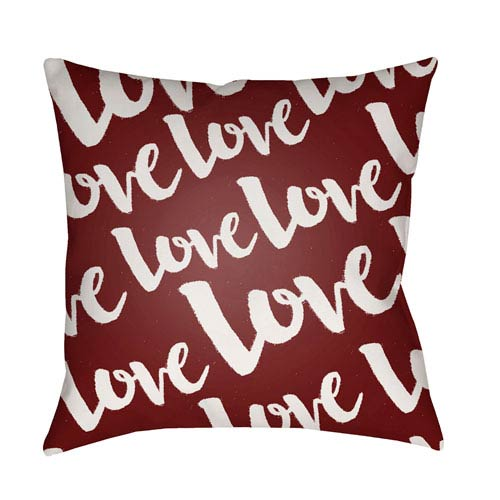 Love Red and White 18 x 18-Inch Throw Pillow