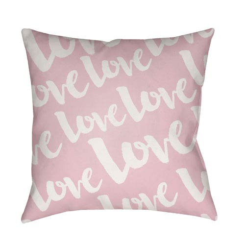 Love Pink and White 18 x 18-Inch Throw Pillow