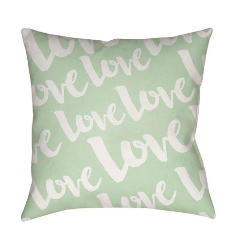 Love Green and White 20 x 20-Inch Throw Pillow