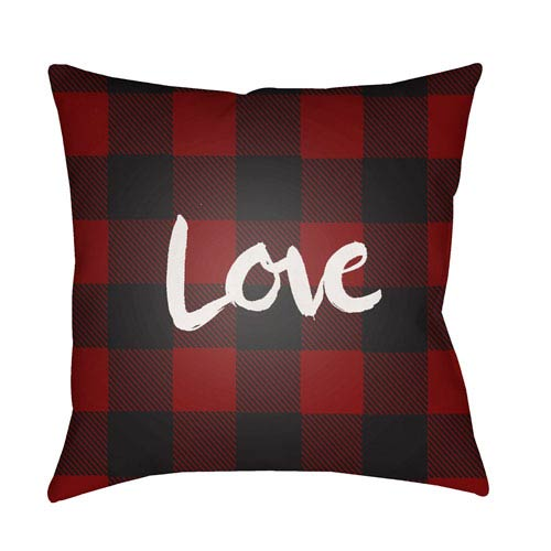 Surya Love II Red and Black 18 x 18-Inch Throw Pillow