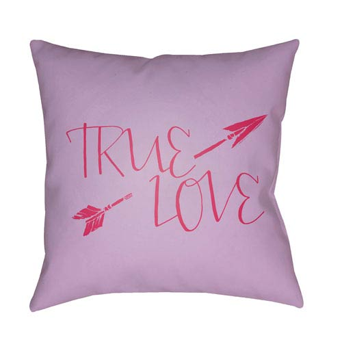 Surya True Love Purple and Red 18 x 18-Inch Throw Pillow