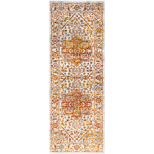 Himalayan Saffron and Bright Red Runner: 2 Ft. 7 In. x 7 Ft. 3 In. Rug