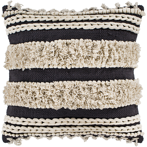 Helena Charcoal and Cream 18 In. x 18 In. Pillow with Down Insert
