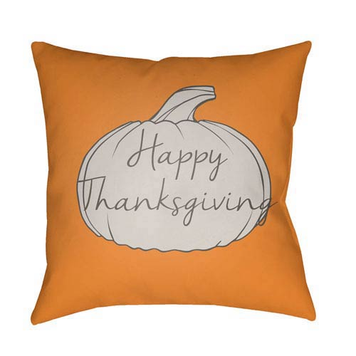 Surya Orange Happy Thanksgiving 20-Inch Throw Pillow with Poly Fill
