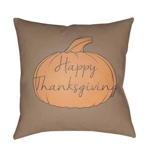 Gray Happy Thanksgiving 18-Inch Throw Pillow with Poly Fill