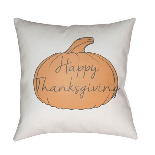 White Happy Thanksgiving 18-Inch Throw Pillow with Poly Fill