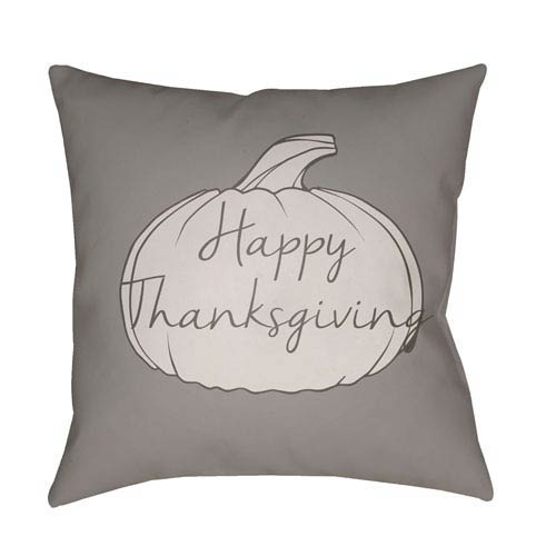 Gray Happy Thanksgiving 20-Inch Throw Pillow with Poly Fill