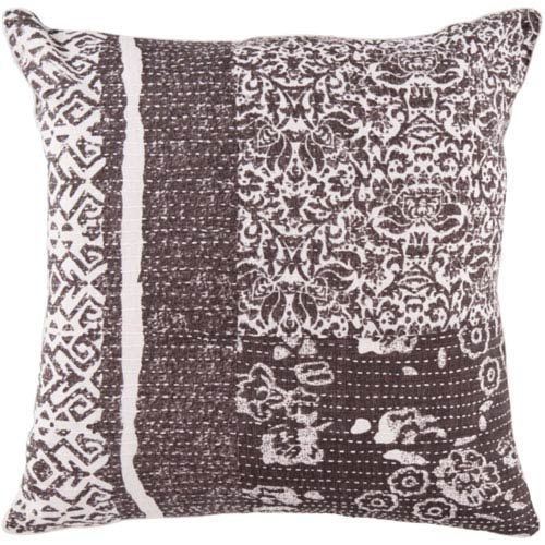 18-Inch Square Charcoal Gray and Papyrus Floral Cotton Pillow Cover with Poly Insert
