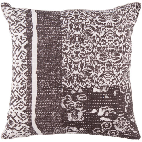 22-Inch Square Charcoal Gray and Papyrus Floral Cotton Pillow Cover with Down Insert