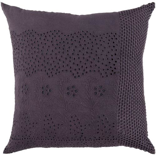 18-Inch Square Pewter Floral Cotton Pillow Cover with Poly Insert