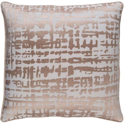 Hessian Gold and Ivory 18-Inch Pillow with Poly Fill