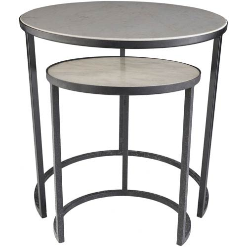 Surya Hearthstone Silver Side Table