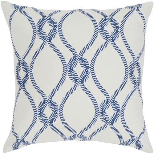 Haylard Dark Blue and Cream 20 x 20 In. Throw Pillow Cover