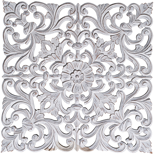 Ria Distressed White Carved Wood Wall Art