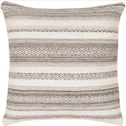 Tender Tribal Light Gray and Ivory 30-Inch Pillow with Down Fill
