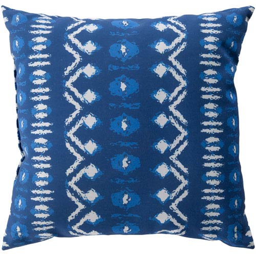 Surya Decorative Pillows Blue and White 18 x 18-Inch Throw Pillow