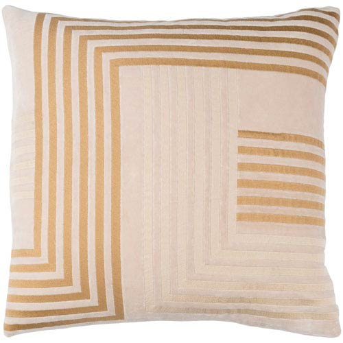 Intermezzo Beige and Tan 18 x 18-Inch Pillow Cover