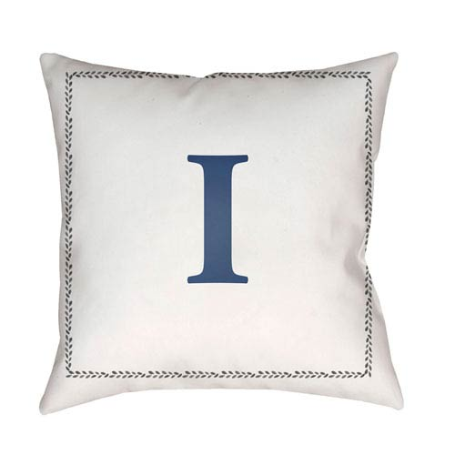Surya Initials White and Blue 20 x 20-Inch Throw Pillow