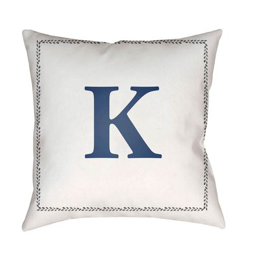 Initials White and Blue 20 x 20-Inch Throw Pillow