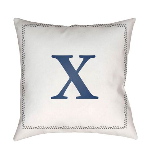 Surya Initials White and Blue 18 x 18-Inch Throw Pillow