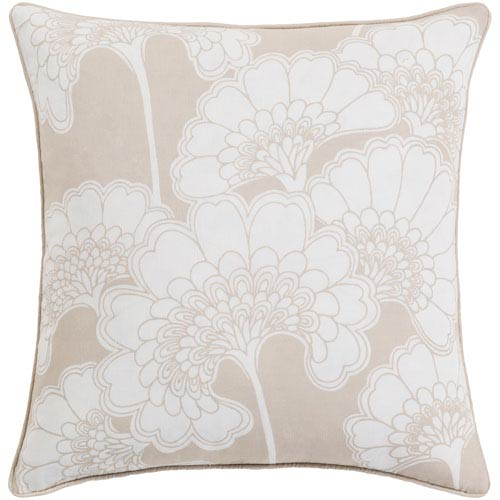 Japanese Beige and Ivory 18-Inch Floral Pillow with Down Fill