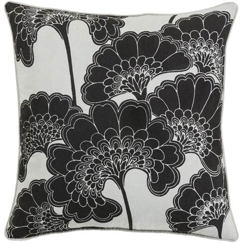 Japanese Black and Ivory 22-Inch Floral Pillow with Poly Fill