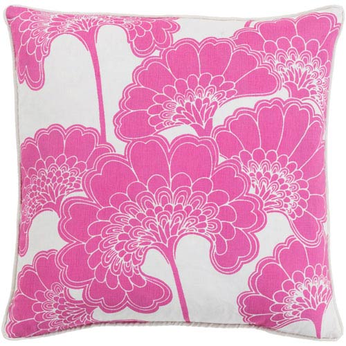 Japanese Hot Pink and Ivory 22-Inch Floral Pillow with Poly Fill