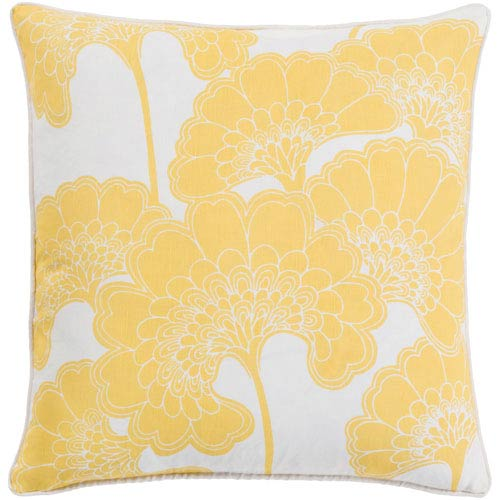 Japanese Lemon and Ivory 22-Inch Floral Pillow with Poly Fill