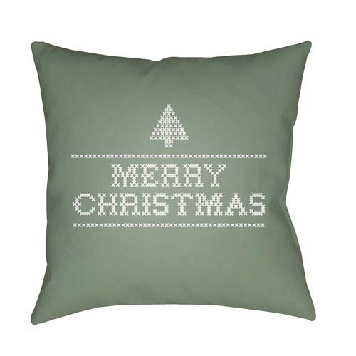 Green Merry Christmas III 18-Inch Throw Pillow with Poly Fill