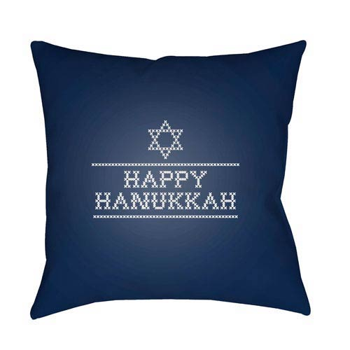 Surya Blue Happy Hanukkah II 20-Inch Throw Pillow with Poly Fill