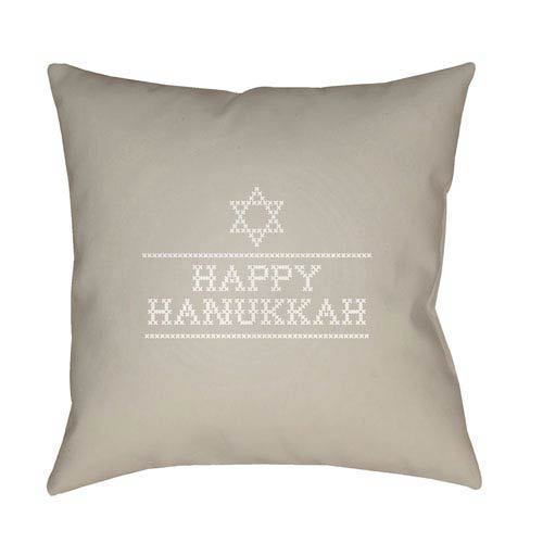 Neutral Happy Hanukkah II 20-Inch Throw Pillow with Poly Fill