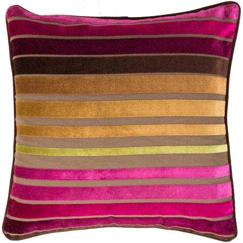 Raspberry Wine and Multi Colored Striped 22 x 22 Pillow