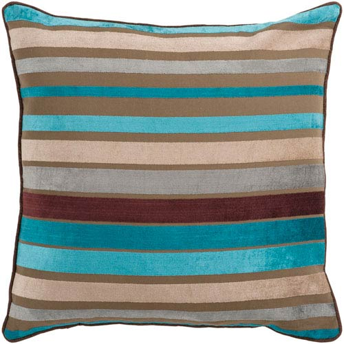 Surya Ocean Blue and Multi Colored Striped 18 x 18 Pillow