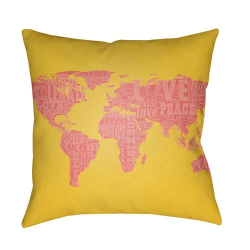 Surya Jetset Coral and Bright Yellow 18 x 18-Inch Pillow
