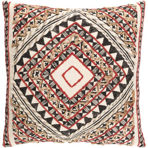 Surya Kazinga Red And Brown 18 Inch Pillow Cover