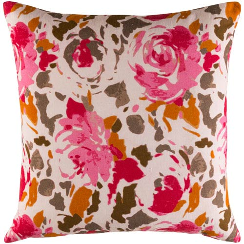 Kalena Red and Pink 22-Inch Pillow Cover