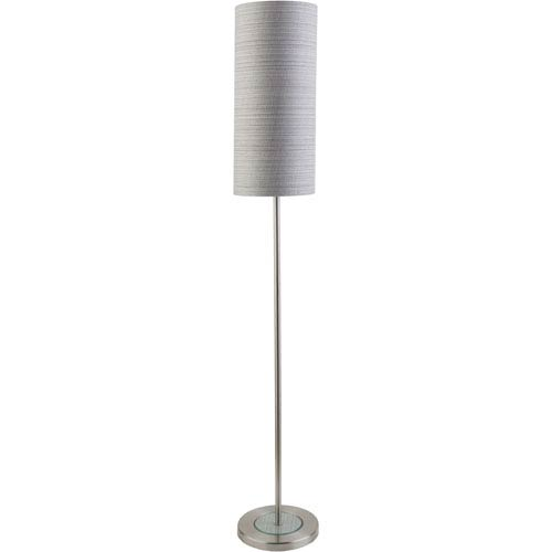 Kyoto Brushed Nickel One-Light Floor Lamp with Gray Shade
