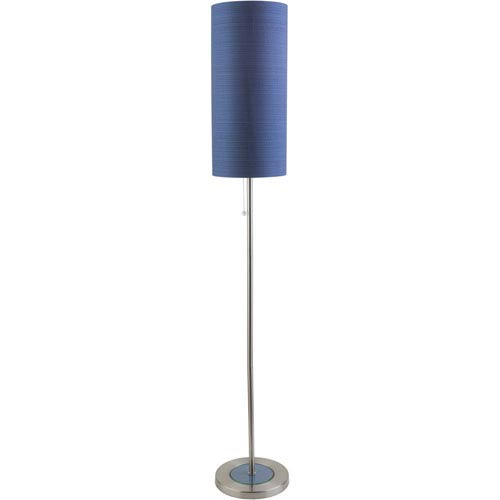 Kyoto Brushed Nickel One-Light Floor Lamp with Blue Shade